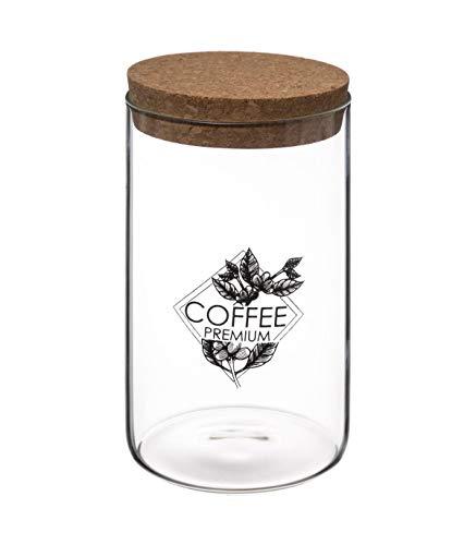 Bocal en verre avec couvercle en liège - Côté café - 1 L