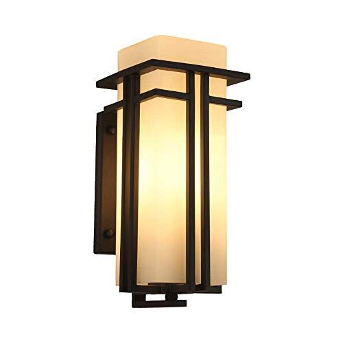 ZCCLCH Lámpara de pared de hierro forjado de metal al aire libre IP54 Luz de pared de vidrio a prueba de agua Puerta de patio Balcón Puerta Villa Aplique de pared Linterna Jardín Comercio E27 Focos de