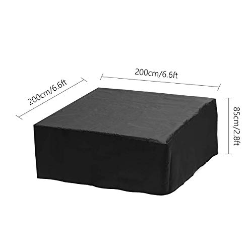 dDanke Black Rectangular Garden Furniture Cover Dustproof Anti-UV Outdoor Dining Set Cover for Patio Table and Chair Set (200x200x85cm)