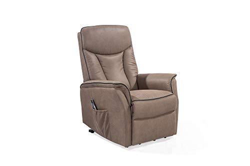 HOMEXPERTS Fernsehsessl SAMSON / Relaxchair mit elektrischer Aufsteh-Funktion / Mikrofaser Braun / Polstersessel / Wohnzimmerstuhl / Sessel / Stuhl / 77 x 110 x 91 cm (BxHxT)