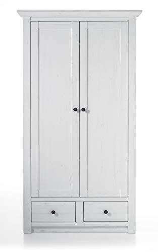 GuenstigEinrichten Garderobenschrank Hooge in Pinie weiß Landhaus Garderobe oder großer Schuhschrank 105 x 206 cm (Garderobenschrank)