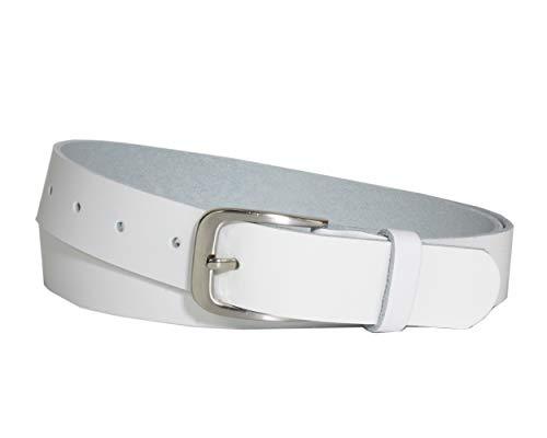 Vascavi Ledergürtel, 3 cm breit, Made in Germany, echt Leder Gürtel für Damen und Herren, kürzbar (100 cm Gesamtlänge 110 cm, Weiß)
