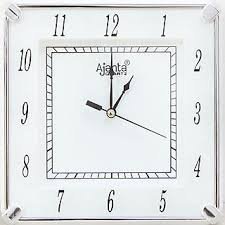 Ajanta Square Plastic Wall Clock (19 cm x 19 cm x 3.5 cm, White)