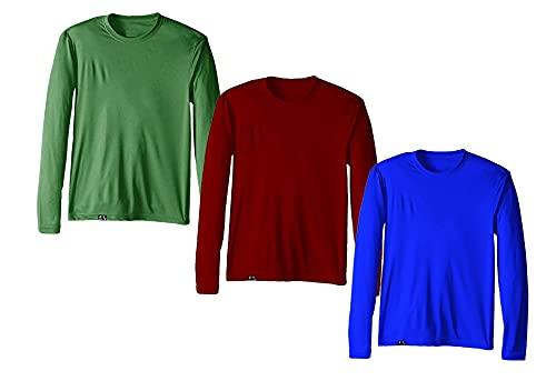 Kit com 3 Camisetas Proteção Solar Uv 50 Ice Tecido Gelado - Slim Fitness – Azul Royal - Vinho – Verde – M