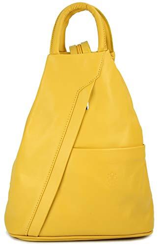 """Belli \""""City Backpack leichte italienische Leder Damentasche Rucksack Handtasche in gelb - 29x32x11 cm (B x H x T)"""