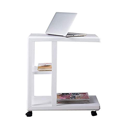 HYLH Side Tables,Tables Sofa Side Table End Table Coffee Table On Wheels with 2 Storage Shelves (Color : White, Size : 60 * 35 * 66cm)