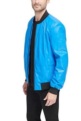 DKNY Men's Leather Bomber Jacket, Electric Blue - Soft Lamb Faux PU, Large