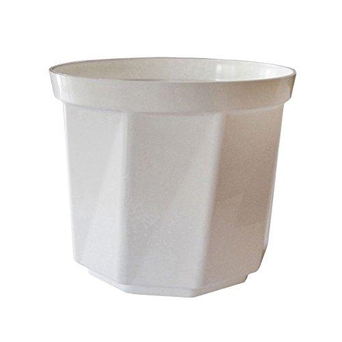 greemotion Pot de fleur rond 25cm Tim - Pot à fleurs élégant en plastique brillant blanc pour l'intérieur et l'extérieur - Pot de fleurs zen aux lignes modernes