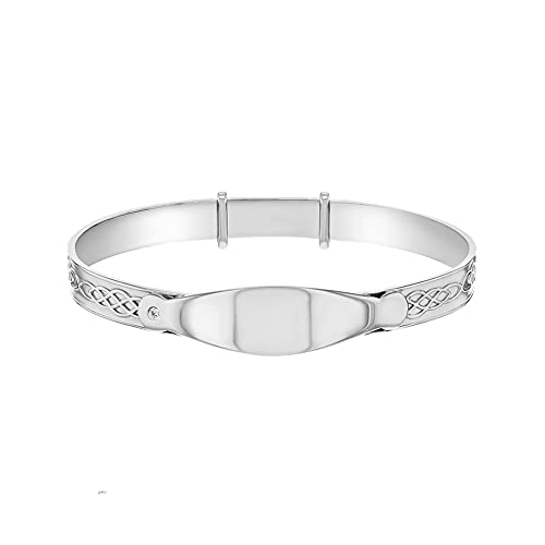 In Season Jewelry 925 Sterling Silver Tag ID Bangle Bracelet for Newborns Toddlers Adjustable
