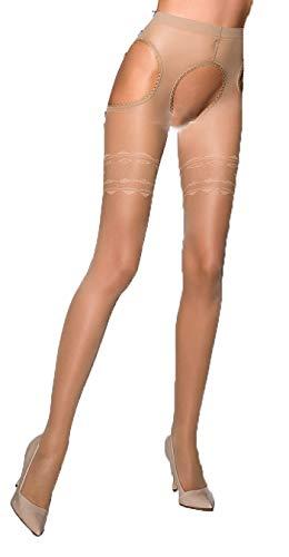 Beige Damen Dessous Strumpfhose elastisch transparent hautfarben im Straps Look ouvert im Schritt offen 1/2