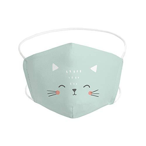 Pekebaby Mascarilla Infantil de tela lavable reutilizable 2 capas + bolsillo con 1 filtro incluido, diseño 002 CAT, doble ajuste elástico