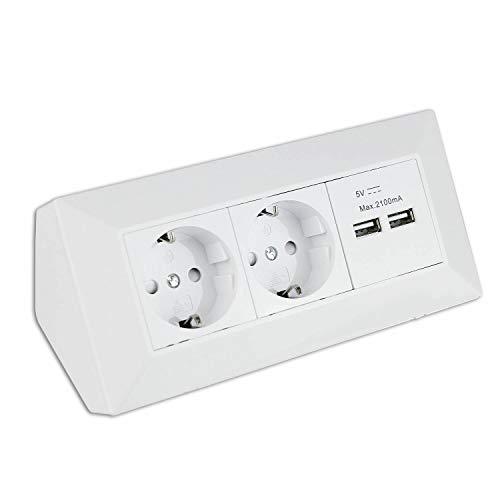 Steckdose weiß 2-fach mit USB für Küche und Büro - Ecksteckdose aus hochwertigem Kunststoff ideal für Arbeitsplatte, Tischsteckdose oder Unterbausteckdose mit 2-fach Steckdosenelement und