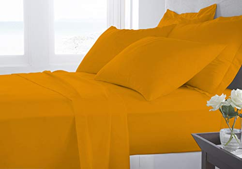 Banzaii Juego de Sábanas para Cama y Funda de Almohada Algodón Cama de 110 a 120 cm Amarillo
