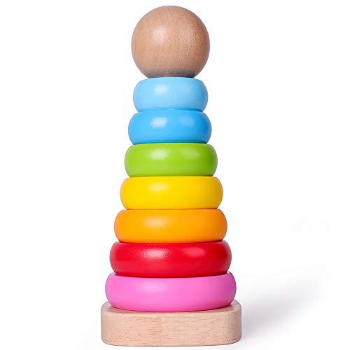 Rolimate Stapelturm Holz, Ringpyramide Farbenfroh mit 7-teilig Holzknopf Stapelspiel Sortier Stapel Steckspielzeug Montessori Sortier Stapel Steckspielzeug Bestes Geburtstagsgeschenk für 123+ Jahre