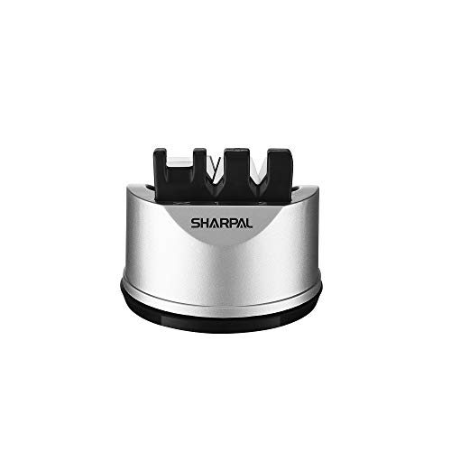 SHARPAL 191H Pocket Kitchen Chef Knife Scissors Sharpener for Straight & Serrated Knives, 3-Stage Knife Sharpening Tool Helps Repair and Restore Blades