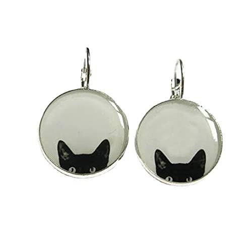 Pendientes de gato - Pendientes de gato - Pendientes de gato negro - Joyas de gato - gatos negros - gato asomando - amante de los gatos - negro - blanco