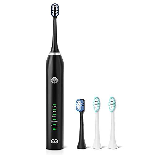 Cepillo de dientes eléctrico Cepillo de dientes sónico con 5 modos de limpieza profunda eje central de acero inoxidable,4 repuesto Cabezales ,2 mins Temporizador,Batería de 30 días de duración