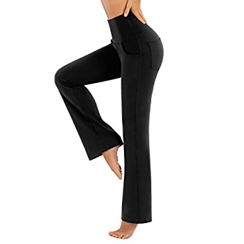 CLUCI High Waist Workout Bootleg Pants with Pockets for Women Tummy Control Work Pants for Women Non-See Through 4 Way Stretch Black  XL