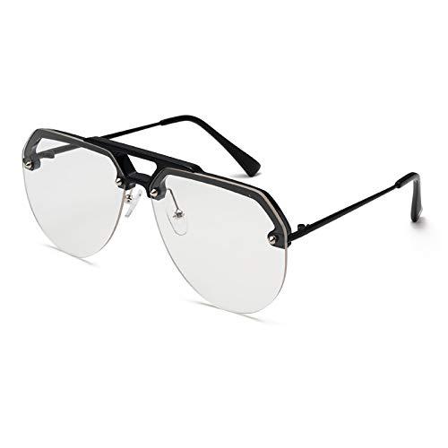 Gafas de Sol,Tendencia de personalidad Gafas de sol de medio marco Moda para hombres Gafas de sol de color jalea de todo fósforo Gafas de tiro callejero para mujeres, marco negro y plano blanco