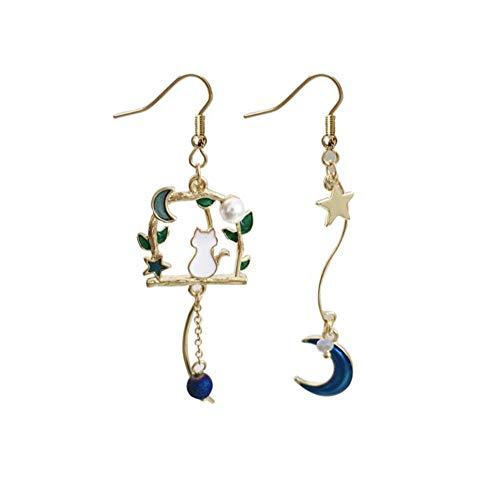 Mode Fenster Katze Blumen Blütenblätter Perle Stern Mond Quaste Asymmetrische Tropfen Ohrringe Koreanische hängende Ohrringe für Frauen Ohrschmuck 2St