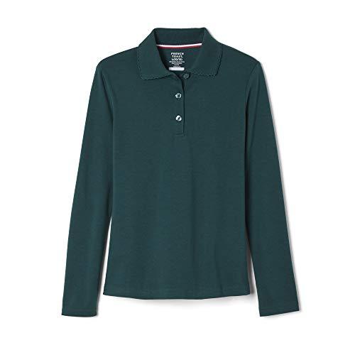 French Toast Little Girls' Long-sleeve Interlock Polo, Hunter Green, 5