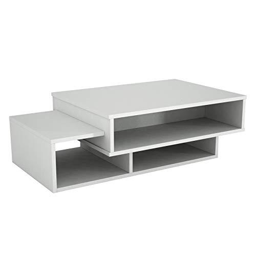 Alphamoebel 3474 Tab Couchtisch Beistelltisch Wohnzimmertisch Sofatisch modern, Weiß, Holz, mit Ablagen, viel Stauraum, Designertisch, 105 x 60 x 32 cm