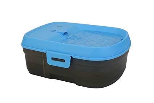 Dog H2O DH025 Cordless Battery Operated Pet Water Fountain, Cool Blue/Translucent Black