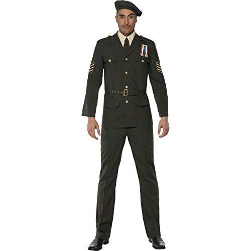 Smiffys Officier temps de guerre, vert, béret, cravate, pantalon, ceinture et veste