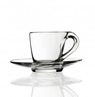 RCR Mamanonmama Set 2 Tazzine Caffè Con Piattino Crystal Glass