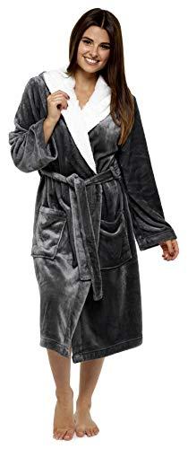 CityComfort Luxury Dressing Gown Mesdames Robe Super Douce avec Fourrure Doublée À Capuche en Peluche Peignoir pour Les Femmes-Cadeau Parfait (S, Gris foncé)