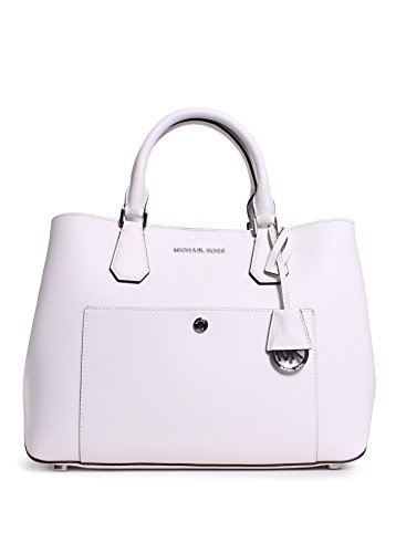 """Greenwich tote in Saffiano leather. Outfitted with two strap options for easy carrying, the spacious interior accommodates your most needed essentials. Saffiano leather Double handles 5-1/2"""" drop; adjustable shoulder strap with 21""""-23"""" drop Magnetic ..."""