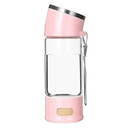 Hidrógeno Botella De Agua Ionizador Hidrógeno Alcalino Generador De Cuprich Modo Libre De BPA 3 Minutos Generado De Hidrógeno PPB Molecular Descarga De Alta Concentración Ozono Y Cloro 300 Ml,Rosado