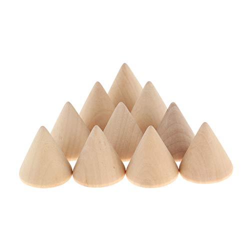 sharprepublic Set de 10pcs Soporte para Joyas Porta de Anillos Estante Diseño de Cono de Madera - 3x3cm