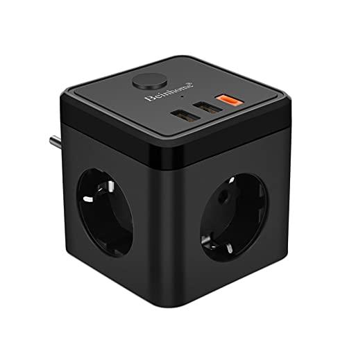 Beinhome Ladron Enchufes Multiple 6 en 1 Cubo Enchufe con 2 Puertos USB y USB C (5V, 3,4A), Interruptor, 3 Tomas de CA, Adaptador Enchufe USB Pared para Hogar Oficina, Negro