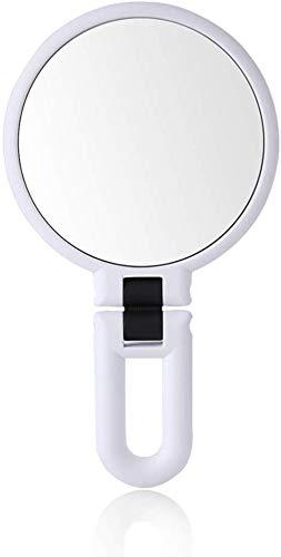 Brillant Maquillage Miroir Beauté Maquillage Double Face Miroir Loupe Portable Princesse Miroir Pliant Miroir Miroir poignée Clair (Color : White)