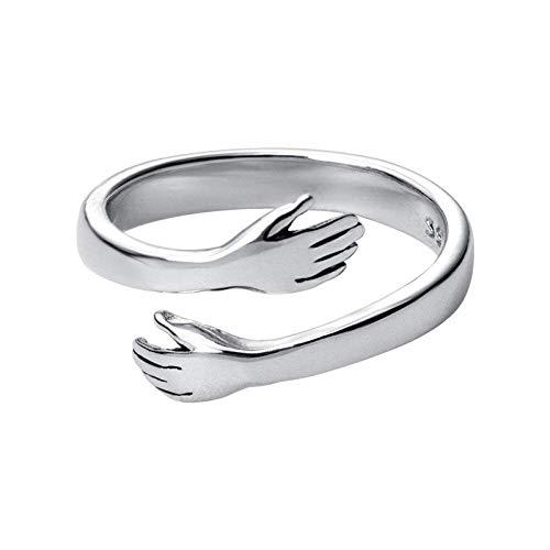 Anillo abierto Gflyme para mujer, elegante anillo ajustable para abrazar las manos, unisex 925, joyería de plata esterlina, regalos para bodas, graduación, cumpleaños, promesa de cumpleaños