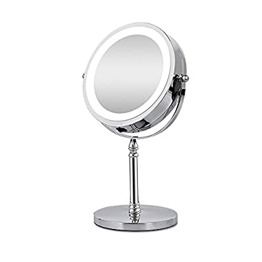 BRIGHTINWD Makeup Mirror with Lights, 10X Magnifying Mirror Lighted Tabletop Vanity Mirror, Double Sided, 360 Rotation, Polished Chrome Finish