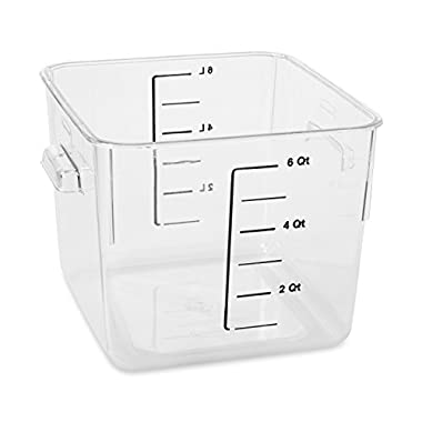 Rubbermaid Commercial Carb-X Space Saving Square Food Storage Container, 6-Quart, Clear, FG630600CLR