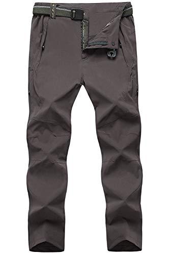 Pantalones de montaña para hombre con cinturón de TBMPOY, pantalones de secado rápido, livianos, impermeables, Large, 003 Thin DarkGrey