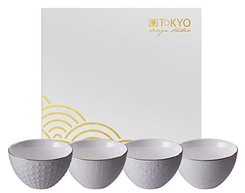 TOKYO design studio Nippon White 4-er Schalen-Set weiß, mit Gold-Rand, Ø 11,6 cm, 6,4 cm hoch, ca. 300 ml, asiatisches Porzellan, Japanisches Design, inkl. Geschenk-Verpackung