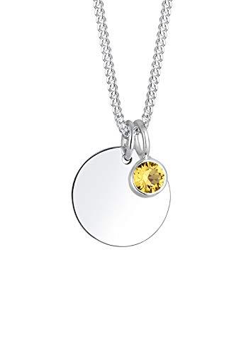 Elli Halskette Damen Geburtsstein April Kristalle in 925 Sterling Silber
