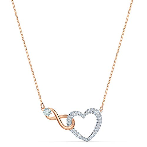 Swarovski Women's Infinity Heart Necklace, Finely Cut Swarvski Crystals in White with a Rose-gold Coloured Mixed Metal Finished Chain