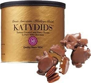 Katydids Candy: Milk Chocolate Caramel Pecan Clusters. The Turtles in the Famous Gold Tin - Pack of 12