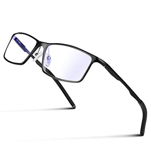 Glazata 高性能 青色光カットメガネ [度なしレンズ、 視力保護 ] UV保護 パソコンメガネ ブルーライトカットメガネ 軽量型マグネシウム合金フレーム 男女兼用 『黒』