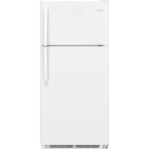 FFTR1821TW 30 Top Freezer Refrigerator with 18 cu. ft. Total Capacity 2 Full Width Glass SpaceWise Refrigerator Shelves 1 Full Width Wire Freezer Shelf and Reversible Door in White