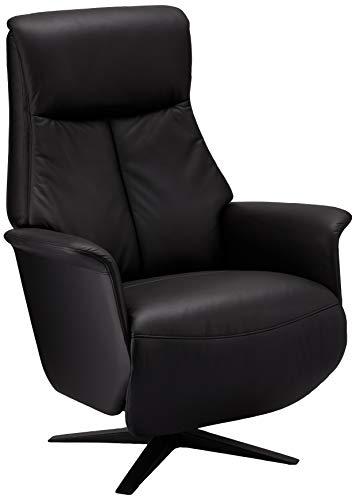 Ibbe Design Schwarz Leder Drehbar Aufstehhilfe Relaxsessel mit Elektrisch Verstellbar Relaxfunktion und Fussteil Fernsehsessel Saturn, 82x86x118 cm