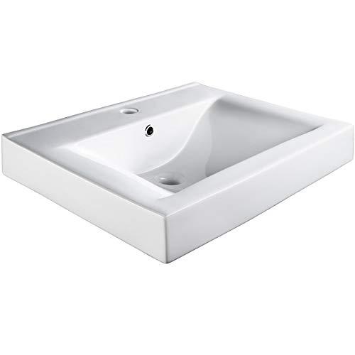 TecTake 800444 Keramik Waschbecken Hängewaschbecken Aufsatzwaschbecken Eckwaschbecken | Weiß | -diverse Modelle- (Typ 3 Waschbecken rechteckig | Nr. 402571)