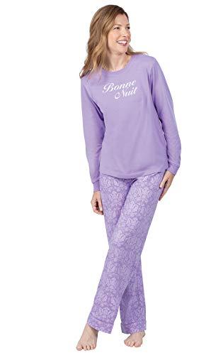 PajamaGram Pajamas for Women Cotton - Womans Pajamas Sets, Lavender, M 8-10