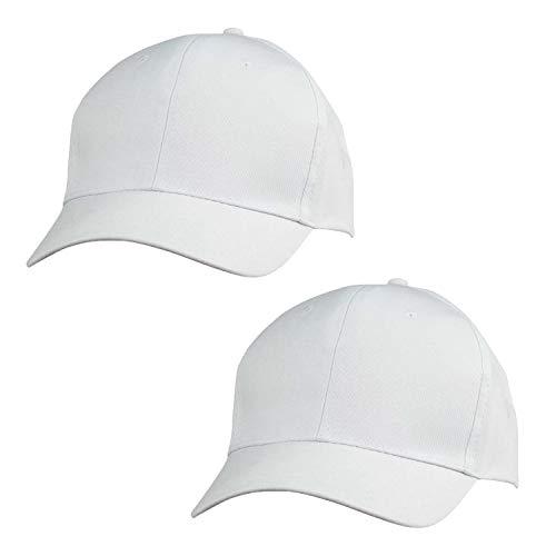 ImpecGear 2 Packs Youth Cap Kid's Baseball Caps Trucker Hats Summer Mesh Cap (2 for Price of 1) (Twill Cap - White)