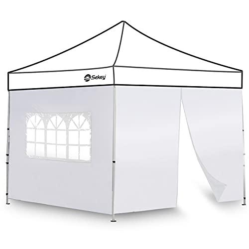 Sekey 2 Seitenteile Seitenwände für Pavillon 3×3m mit Reißverschluss Fenster, Wasserdicht für Festzelt, Partyzelt, Weiß